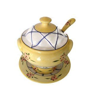 Ceramic Soup Tureen with Plate and Ladle Andrea